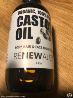 Castor oil in amber glass bottle
